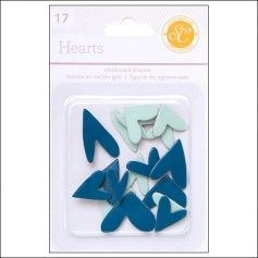 Studio Calico Chipboard Hearts Blue and Aqua Essentials Collection