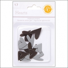 Studio Calico Chipboard Hearts Black and Gray Essentials Collection