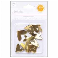 Studio Calico Chipboard Hearts Gold Essentials Collection
