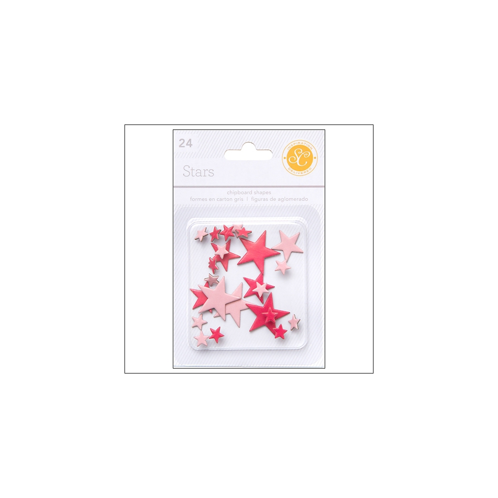 Studio Calico Chipboard Stars Red and Pink Essentials Collection