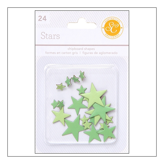 Studio Calico Chipboard Stars Greens Essentials Collection
