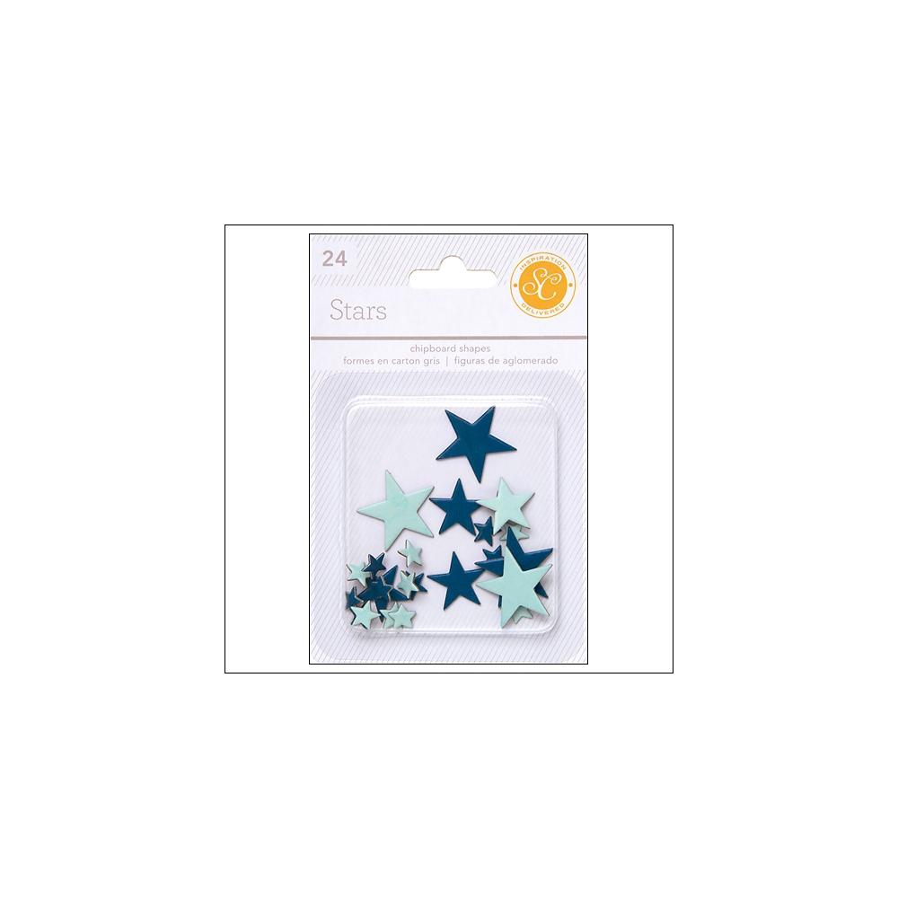 Studio Calico Chipboard Stars Blue and Aqua Essentials Collection
