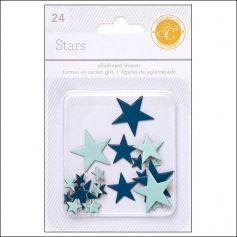Studio Calico Chipboard Stars Blue and Aqua Essentials Collection