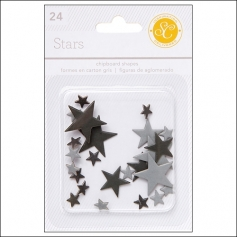 Studio Calico Chipboard Stars Black and Gray Essentials Collection