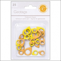 Studio Calico Chipboard Geotags Yellow and Orange Essentials Collection