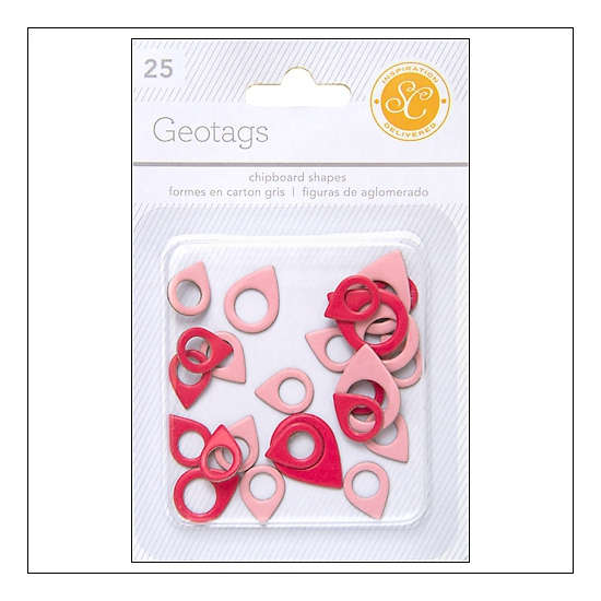 Studio Calico Chipboard Geotags Red and Pink Essentials Collection