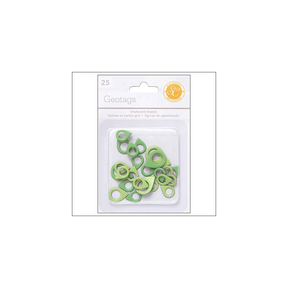 Studio Calico Chipboard Geotags Greens Essentials Collection