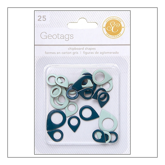Studio Calico Chipboard Geotags Blue and Aqua Essentials Collection