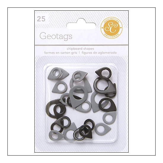 Studio Calico Chipboard Geotags Black and Gray Essentials Collection