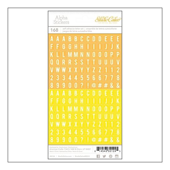 Studio Calico Tiny Alpha Stickers Yellow and Orange Essentials Collection