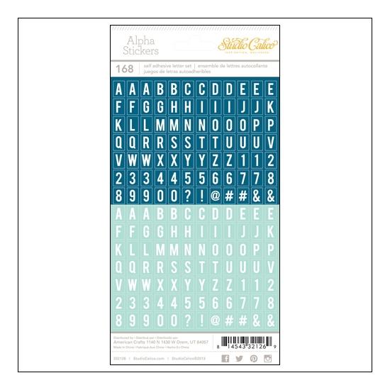 Studio Calico Tiny Alpha Stickers Blue and Aqua Essentials Collection
