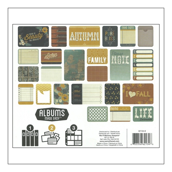 We R Memory Keepers Albums Made Easy Journaling Cards 3x4 and 4x6 Harvest Collection