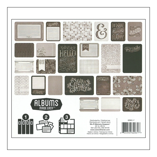 We R Memory Keepers Albums Made Easy Journaling Cards 3x4 and 4x6 Blackboard Collection