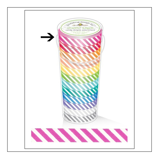 Doodlebug Washi Tape Candy Stripe Bubblegum