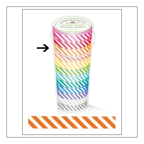 Doodlebug Washi Tape Candy Stripe Tangerine
