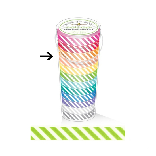 Doodlebug Washi Tape Candy Stripe Limeade