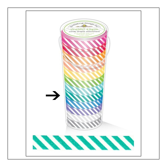 Doodlebug Washi Tape Candy Stripe Grasshopper