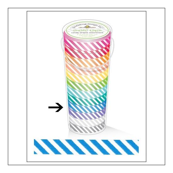 Doodlebug Washi Tape Candy Stripe Blue Jean