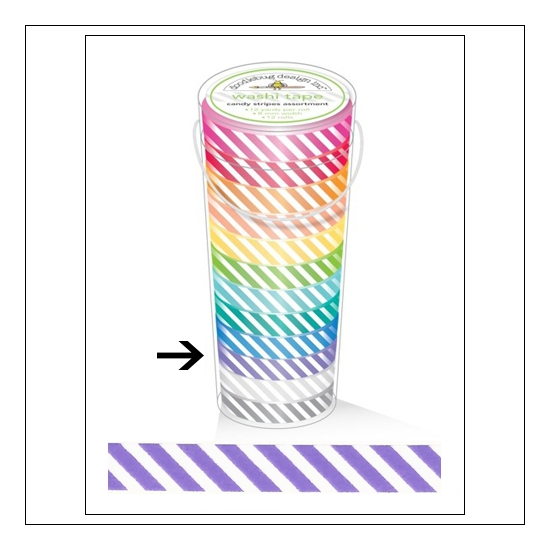 Doodlebug Washi Tape Candy Stripe Lilac