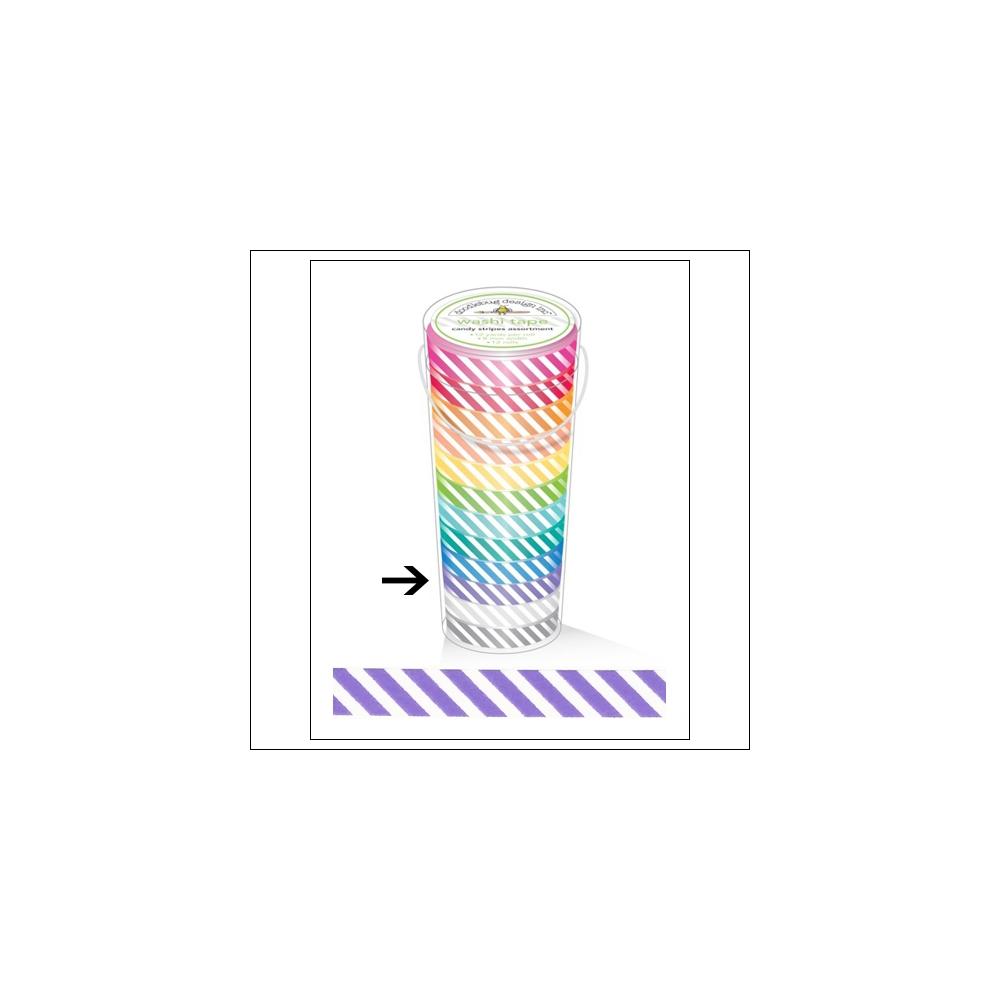 Doodlebug Washi Tape Candy Stripe Lilac