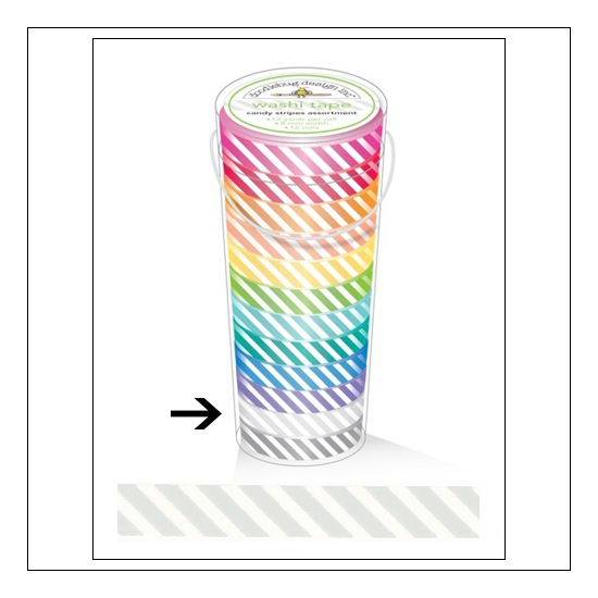Doodlebug Washi Tape Candy Stripe Lily White