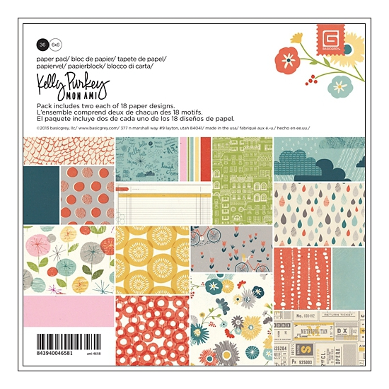 Basic Grey Paper Pad 6x6 Mon Ami Collection by Kelly Purkey