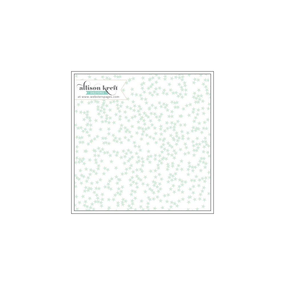 Websters Pages Clear Overlay Mint Stars Hello World Collection by Allison Kreft
