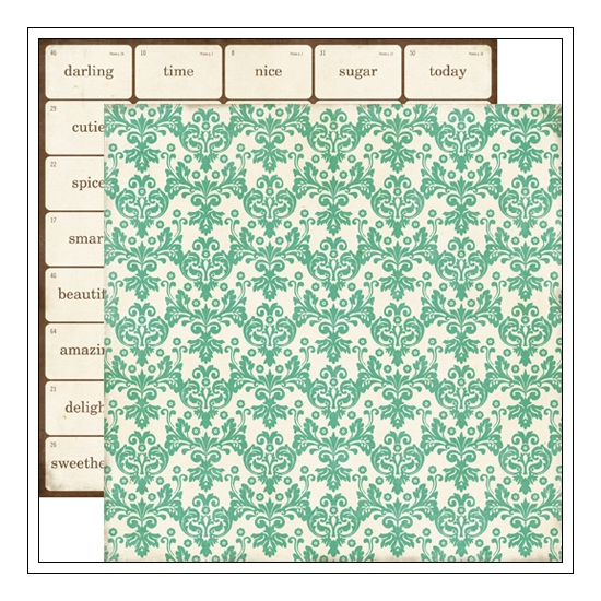 Echo Park Paper Co Paper Sheet Teal Damask This and That Collection