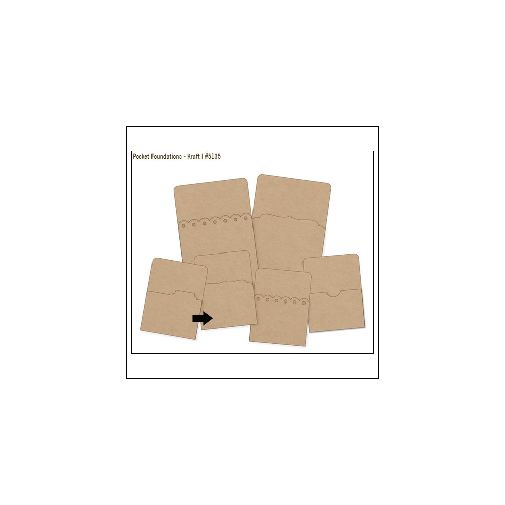 Simple Stories Foundations Kraft Pocket Curved Bracket Edge 3x4 DIY Collection