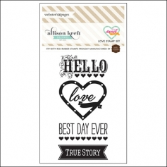 Websters Pages Cling Mounted Rubber Stamp Set Love Sweet Notes Collection