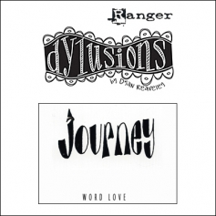 Ranger Dylusions Cling Stamp Journey Word Love by Dyan Reaveley