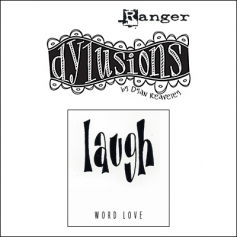 Ranger Dylusions Cling Stamp Laugh Word Love by Dyan Reaveley
