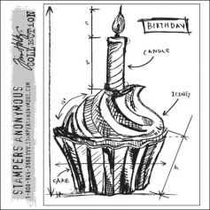 Stampers Anonymous Cling Stamp Birthday Blueprint by Tim Holtz Collection
