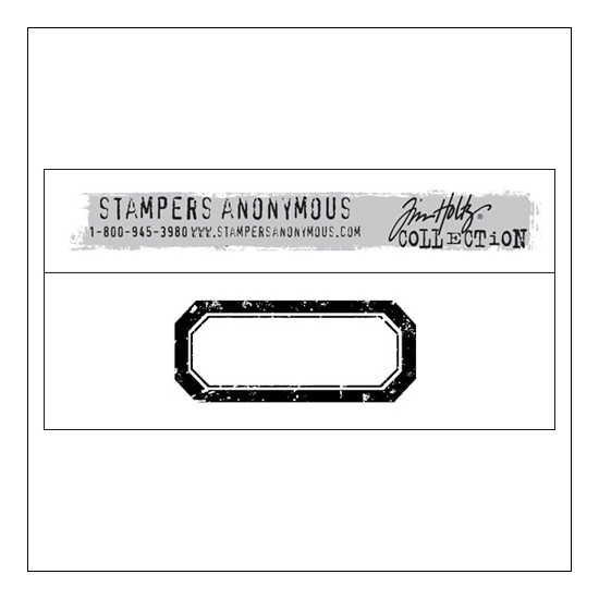 Stampers Anonymous Wood Mounted Red Rubber Stamp Small Label by Tim Holtz Collection