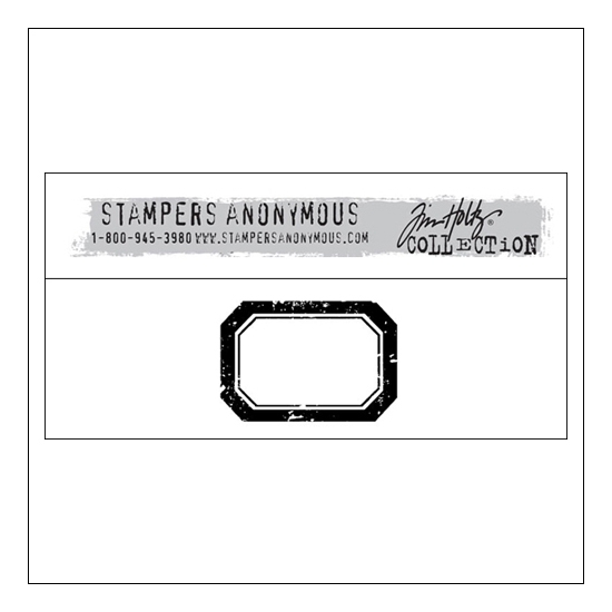 Stampers Anonymous Wood Mounted Red Rubber Stamp Medium Label by Tim Holtz Collection