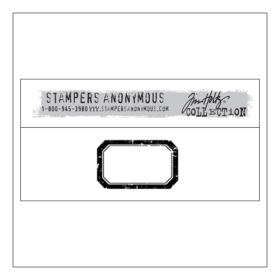 Stampers Anonymous Wood Mounted Red Rubber Stamp Large Label by Tim Holtz Collection