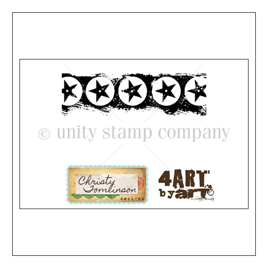 Unity Stamp Company Wood Mounted Red Rubber Stamp Battle Stars Design by Art McKracken Art