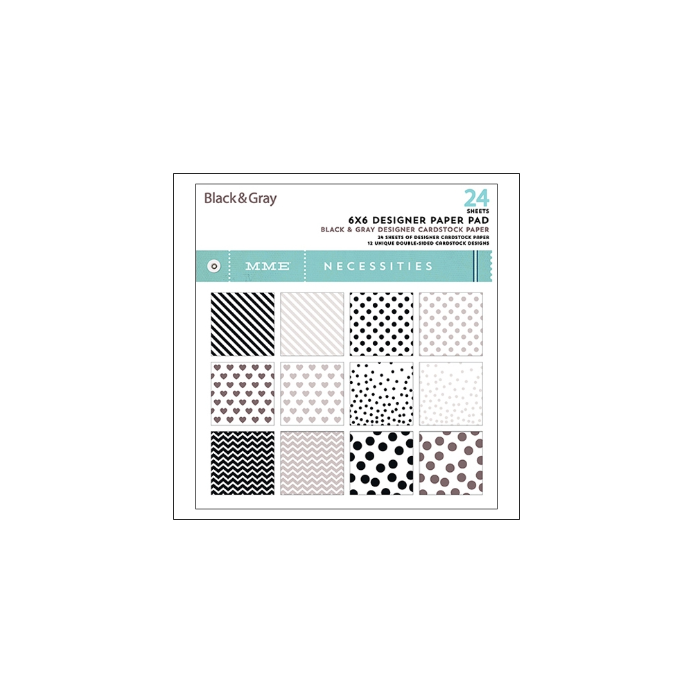 My Minds Eye Paper Pad 6x6 Black and Gray Necessities Collection