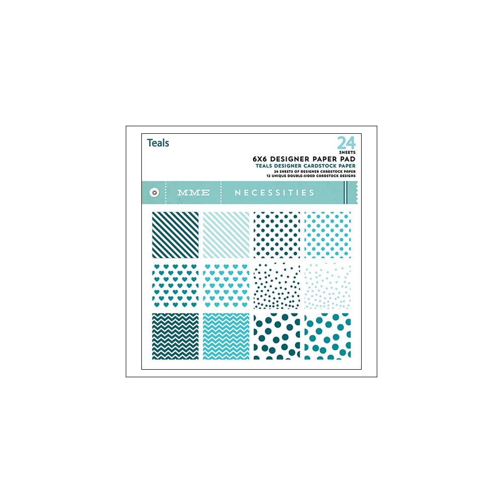 My Minds Eye Paper Pad 6x6 Teals Necessities Collection