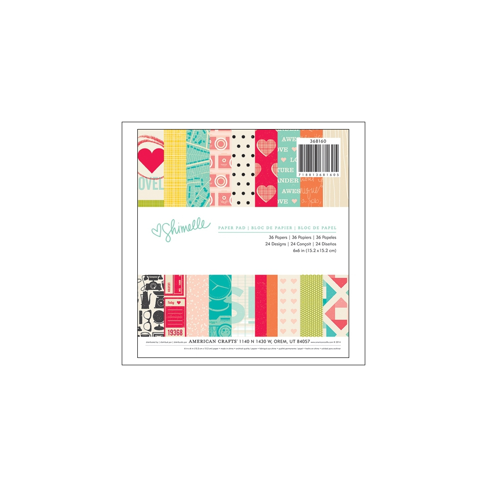 American Crafts Paper Pad 6x6 Shimelle Collection