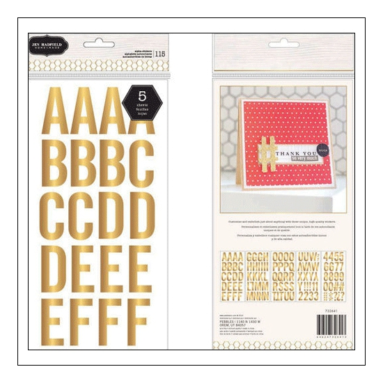 Pebbles Large Alphabet Stickers Gold Hand-Made Collection by Jen Hadfield