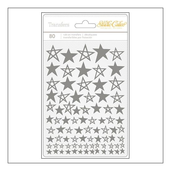 Studio Calico Rub Ons Silver Stars Brighton Pier Collection
