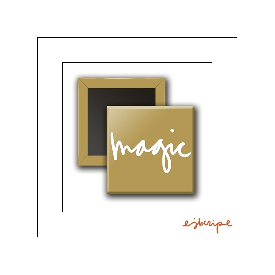 Scrapbook and More Square Flair Badge Button Gold Magic by Elise Blaha Cripe