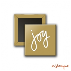Scrapbook and More Square Flair Badge Button Gold Joy by Elise Blaha Cripe