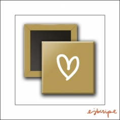 Scrapbook and More Square Flair Badge Button Gold Heart by Elise Blaha Cripe