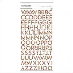 Gossamer Blue Puffy Plaid Alphabet Stickers Get Happy Collection by Allison Pennington