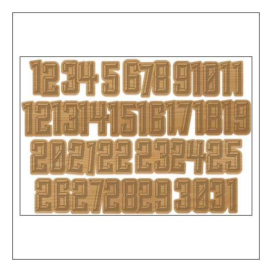 Gossamer Blue Wood Veneer Numbers Get Happy Collection by Allison Pennington