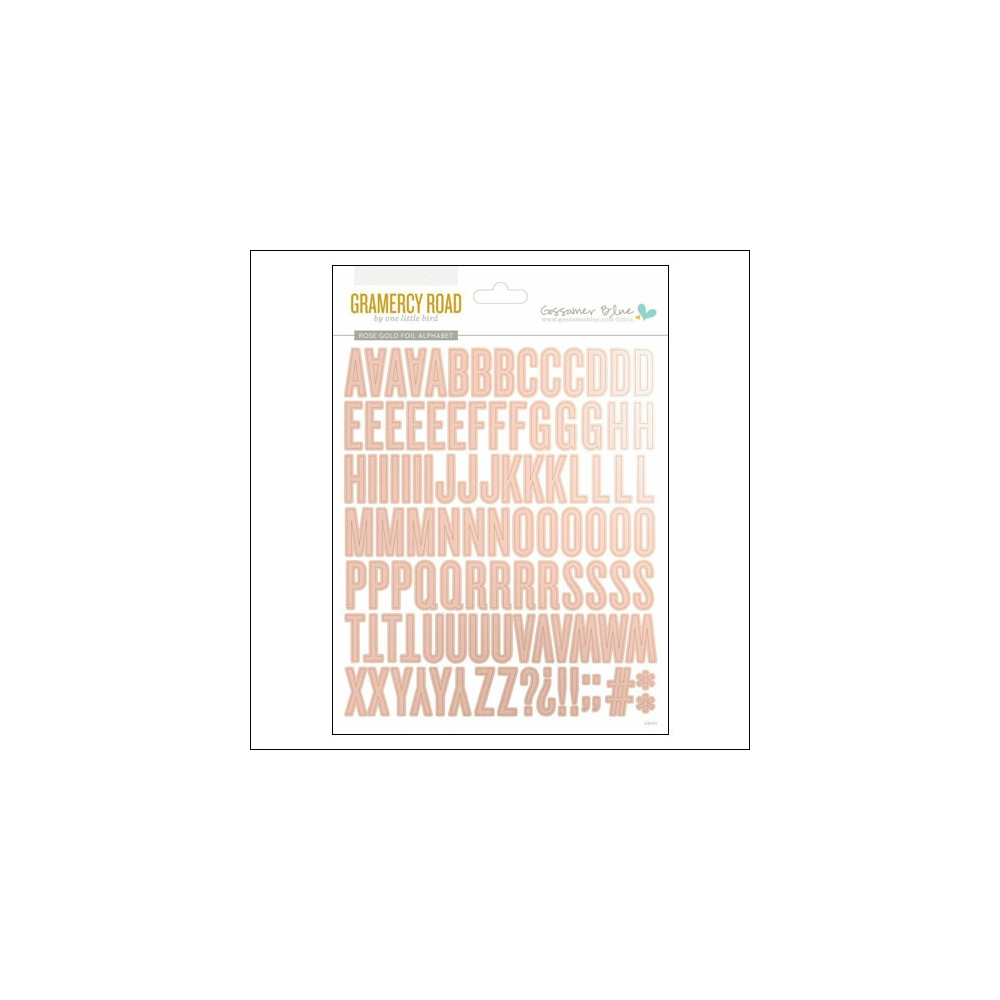 Gossamer Blue Cardstock Rose Gold Foil Alphabet Stickers Gramercy Road Collection by One Little Bird