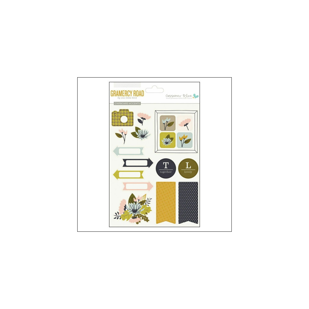 Gossamer Blue Chipboard Accents Stickers Gramercy Road Collection by One Little Bird