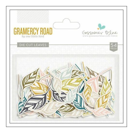 Gossamer Blue Die Cut Leaves Gramercy Road Collection by One Little Bird
